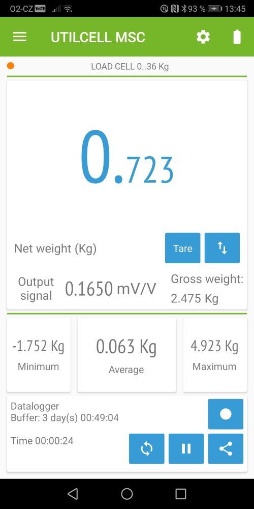 Měření hmotnost na zařízení s android